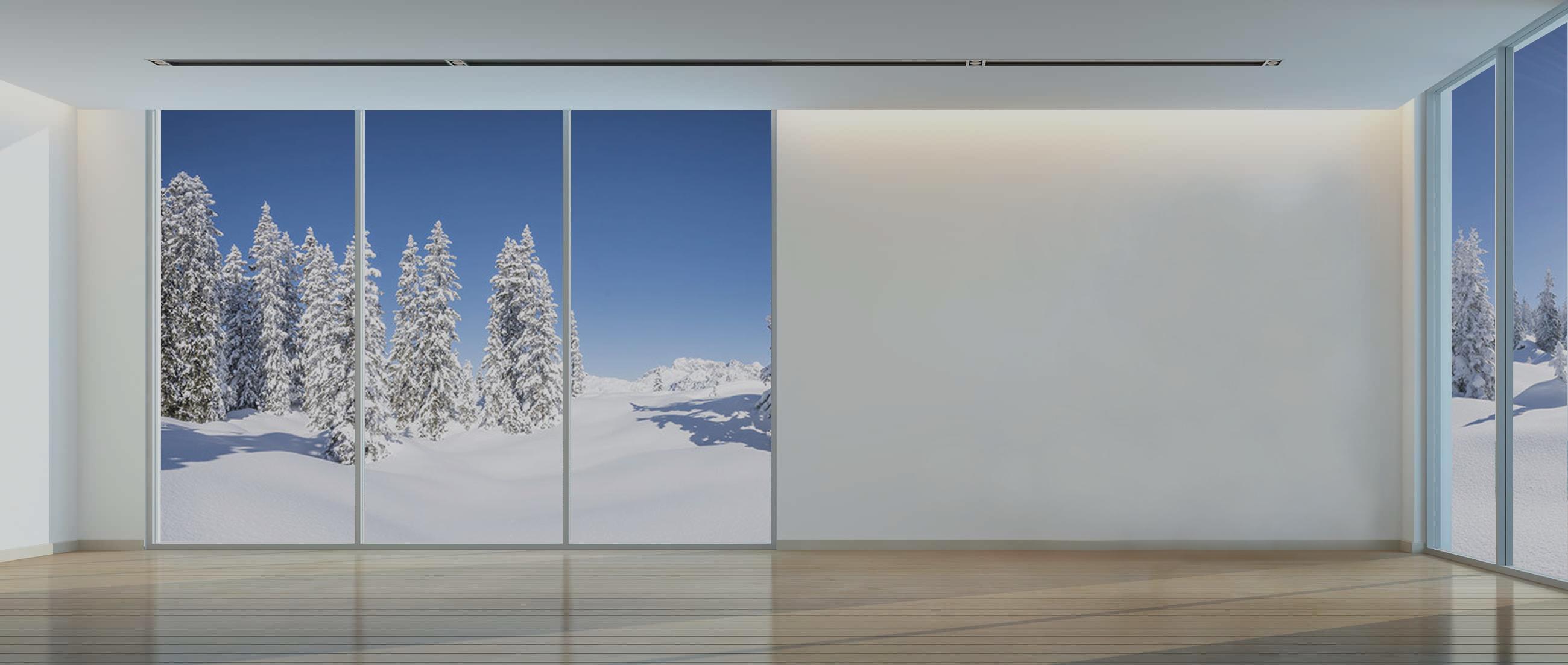 Fond paysage de Noël - Sapin et châssis