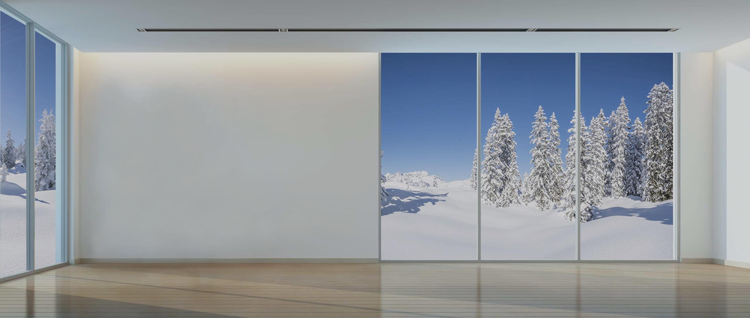 Intérieur vitré avec vue sur décor hivernal